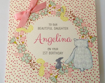 Personalised Watercolour 1st Birthday Card Daughter, Granddaughter, Niece, Goddaughter, Sister, 2nd  3rd 4th 5 th 6th 7th 8th 9th 10th 11th