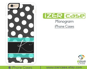 Monogram Personalized iPhone 6/6S Case, iPhone 6/6S PLUS, iPhone 5/5S,  iPhone 5C, iPhone 4/4S Polka Dots With Light Blue Stripes