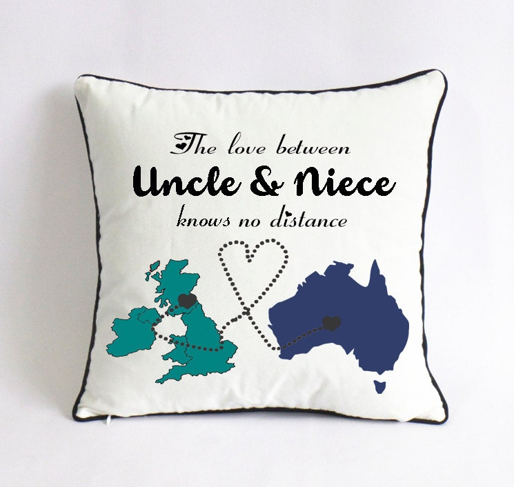 long distance uncle niece pillow case-UK Australia map
