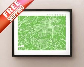 Florence Sc Map Print South Carolina Poster Art