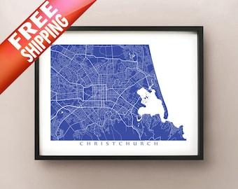 Christchurch Map, New Zealand Art Poster Print