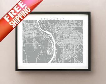 Bismarck, ND Map Print