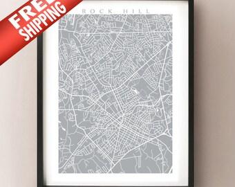 Rock Hill Map Print - South Carolina Poster Art