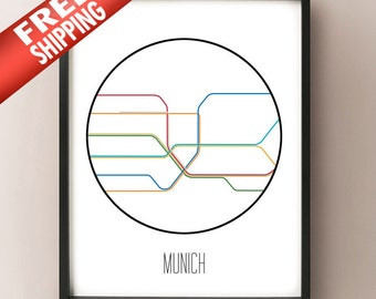 Munich Minimalist Metro - Germany Subway Art Print - München decor