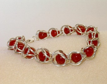 11mm Wide Sterling Silver/Genuine Carnelian Cage Bracelet
