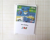 Personalised Transformers birthday card: add any name to this 1980s comic book card. Boyfriend, son, best friend, daughter birthday card.