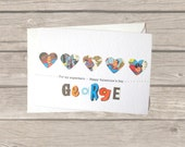 Superman Valentine card: superhero card made with original 1970s comic book papers. Can be personalised for boyfriend, husband.
