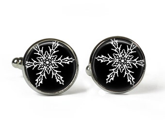 HOLLY - XMAS - Black - Glass Picture Cufflinks - Silver Plated (Art Print Photo AT30)