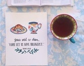 Breakfast Scripture for the Kitchen/ art print/ Bible Verse/ Whimsical/8x10 inches