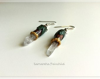 Polymer Clay Leaf Quartz Crystal Earrings - OOAK - Crystals Collection