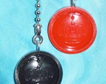 Set of Two - Red Black Checkers - Ceiling Fan Pull Chains