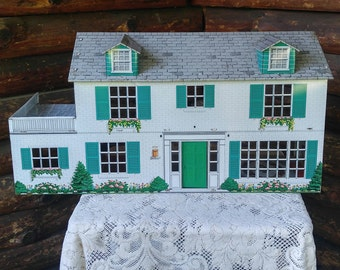 PRICE REDUCED /  Vintage Marx Marxie Mansion / Marx Dollhouse / Tin Dollhouse / Lithograph Tin Dollhouse