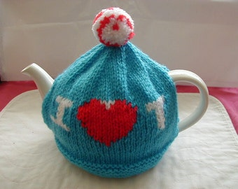 Hand Knitted Tea Cosy In DK Colour Blue / I Love T