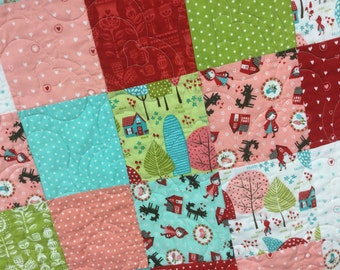 Lil' Red and the Sweet Bad Wolf Toddler Quilt