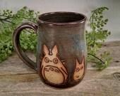 Little Totoros Mug - 16 oz Earthy Blue Wheel Thrown Hand Carved Studio Ghibli Coffee Cup
