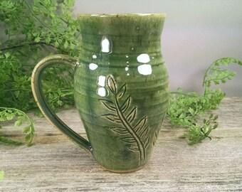 16 oz Dark Green Fern Mug - Wheel Thrown and Hand Carved Coffee Cup