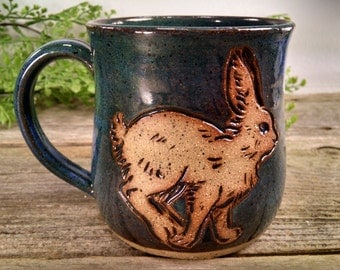 18 oz Bright Blue Snowshoe Hare Nature Mug - Wheel Thrown and Hand Carved Coffee Cup