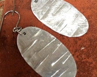 Silver oval drop earrings
