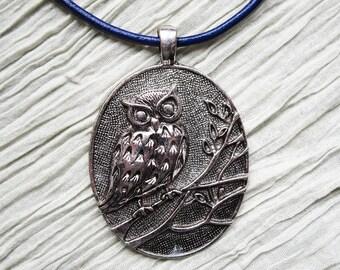 Owl Pendant Leather Necklace, Dark Blue Leather, Pendant Necklace, Long Statement Necklace