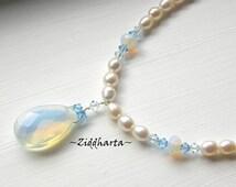 OOAK Opalite Necklace Swarovski Sapphire Necklace Pear Pendant Halskette Kragen Facetted Opalite Necklace - Handmade Jewelry by Ziddharta