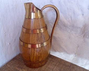 Antique French wood barrel pitcher Wine carafe Staved oak wood with brass hoops pitcher wine jug