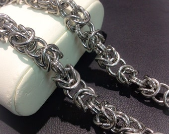 "24"" Stainless Steel Byzantine 9mm Round Turkish Byzantine Weave Unique Men's Chain Persian Chainmaille Necklace Turkish Round Weave Celtic"