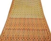 Vintage Saree Floral  Woven  Dress  Fabric  Pure Silk Scrap Upcycled Sari Craft Supply Indian Traditional Antique  Sari Beige Saree PSW147