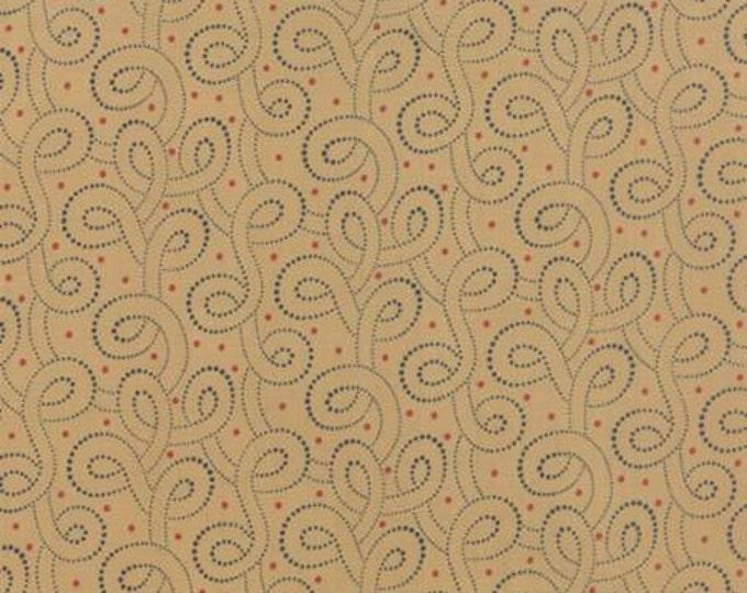 Polka Dots and Paisleys Polka Dot Swirls Tan Blue - 1/2yd