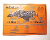 North Carolina Farm Bureau Member Sign Authentic Vintage Metal Farm Sign Rustic Orange Home Decor Rare Vintage Sign Rural Country Living
