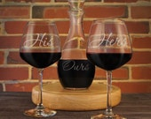 Personalized Wine Decanter and Stemware with His, Hers, and Ours Design with Font Selection (Set including Decanter, Stopper, and Stemware)