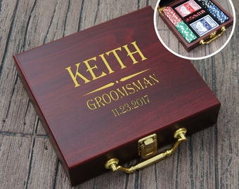 Personalized Poker Set with Cards, Chips, & Dice including Engraved Case with Groomsman Wedding Party Monogram Design Options (Each)