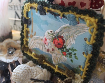 Dove and Rose Valentine, Crochet Tag, Crochet Valentine, Valentine's Day Gift, Vintage Clowns, Crochet Ornament, Embellishment, Paper Tag