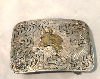 Vintage Montana Silversmiths Kids Horse Head Western Belt Buckle Heavy Silver Plate Etched Gold & Silver