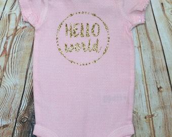 Hello World baby girl bodysuit, 0-3 month onesie, 0-3 month apparel