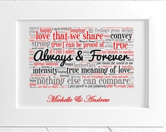 Personalised Love Framed Word Art - Always & Forever