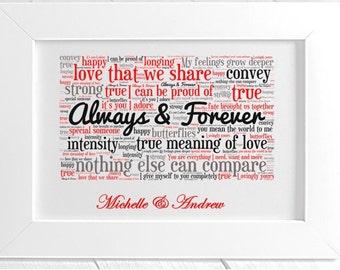 Personalised Love Framed Word Art - Always & Forever