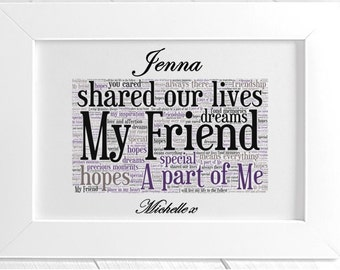 Personalised Remembrance Framed Word Art - Apart of Me