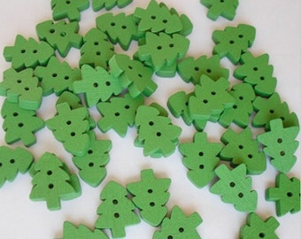 20 Wooden buttons to Christmas Tree. Color Green 17x14mm