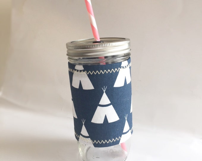 Navy Blue Tepees Insulated Mason Jar Tumbler and Cozy w BPA Free Straw - Travel Mug Great Gift