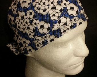 Soccer Balls Tie Back Surgical Scrub Hat
