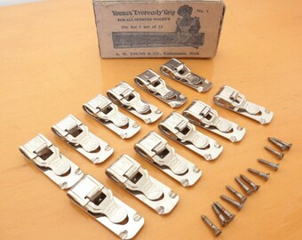 Rare Antique Ironing Board Clips-UNUSED Set of 12 Metal Clips In Original Box! YOUNG & CO. Antique Ironing Board Fabric Cover Clips/Hardware