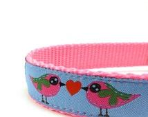 FALL SALE Love Birds dog collar on blue background/ adjustable dog collar/ martingale collar