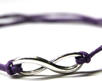 Infinity Symbol Tibetan Silver Charm Cord Friendship Wish Bracelet