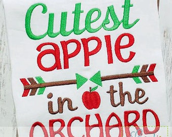 Personalized Cutest Apple in the Orchard Applique Shirt or Onesie for Boy or Girl