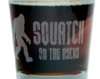 "Bigfoot ""Squatch on the Rocks"" - Engraved Rocks Glass - 13 oz - Permanently Etched - Fun & Unique Gift!"