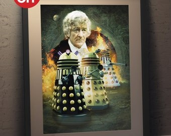 Doctor Who 'Jon Pertwee' The Third Doctor and Daleks - A3 Poster