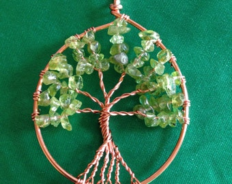 Peridot tree of life necklace, red copper