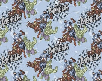 Marvel Comic Avengers Assembled Fabric By the Yard