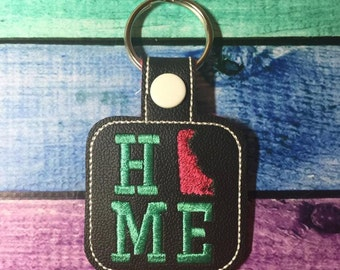 Delaware HOME - State- The Hoop - Snap/Rivet Key Fob - DIGITAL Embroidery Design