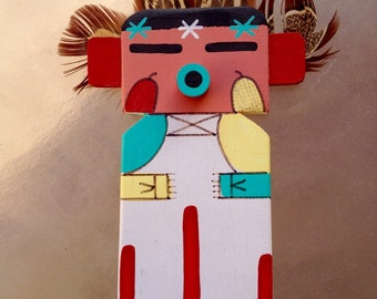 Hopi Flat Kachina Doll Dancer, Corn Dancer Kachina, Native American Indian Arizona, Corn Dancer Katsina, Native American Collectible Doll
